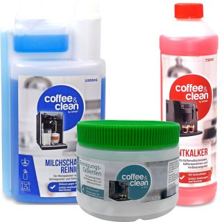 750ml descaling fluid + 1000ml Milk froth cleaner + 200 Cleaner Tablets á 2gr.
